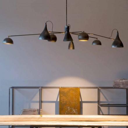 Handgemaakte ijzeren kroonluchter met aluminium kappen Made in Italy - Verino