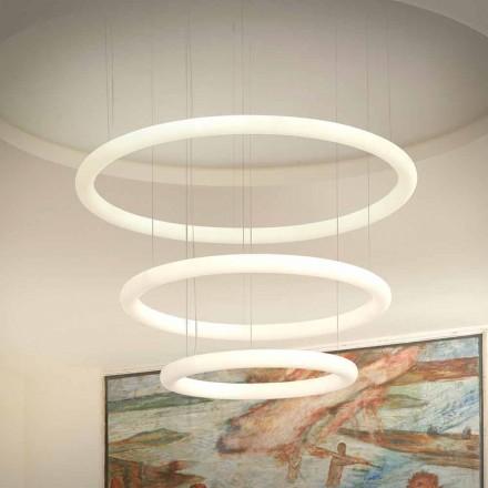 Witte LED design kroonluchter met metalen rozet Made in Italy - Slide Giotto