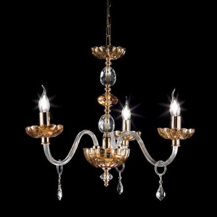 klassieke kroonluchter in kristal en glas 3 lampjes Belle, made in Italy