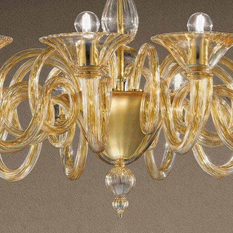 12 lichts handgemaakte Venetiaanse glazen kroonluchter gemaakt in Italië - Margherita