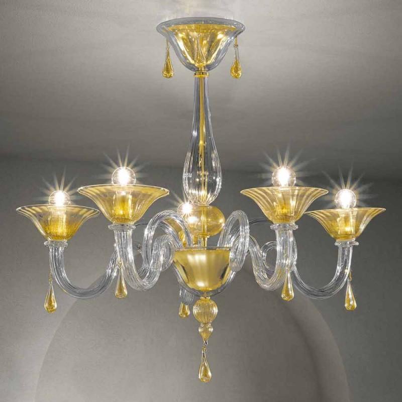 5 lichts Venetië glazen kroonluchter, handgemaakt in Italië - Margherita