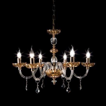 Kroonluchter klassiek design met 6 glazen verlichting en glas Fine