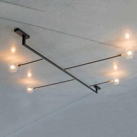 Handgemaakte design kroonluchter in ijzer met 4 lampen Made in Italy - Anima