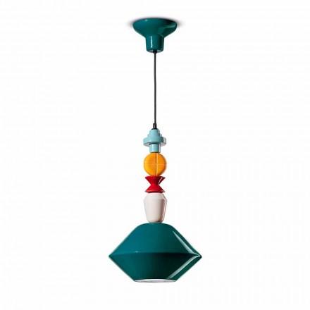 Groene of gele keramische hanglamp gemaakt in Italië - Ferroluce Lariat