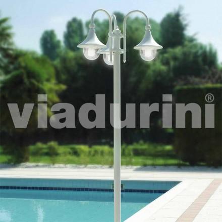 Lantaarnpaal met drie lichten voor buiten in wit aluminium, gemaakt in Italië, Anusca