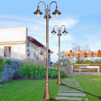 Buiten drie-licht aluminium straatlantaarn gemaakt in Italië, Anusca
