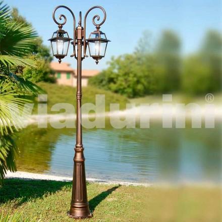 Tuinlamp met drie lampen, gemaakt met aluminium, gemaakt in Italië, Kristel