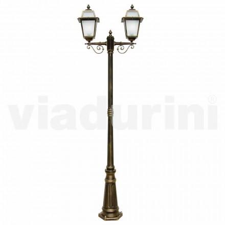 Lantaarnpaal met twee lichten, gemaakt met aluminium, gemaakt in Italië, Kristel
