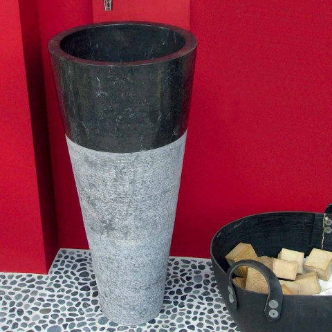 Wastafel Column Taper Stone Natural Black Raja