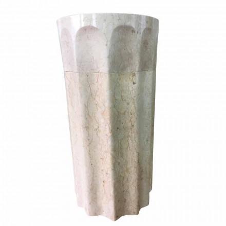 Kolom wasbak in witte natuursteen, uniek exemplaar