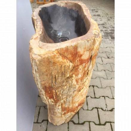 Design voetstuk gootsteen in natuursteen Ley, handgemaakt