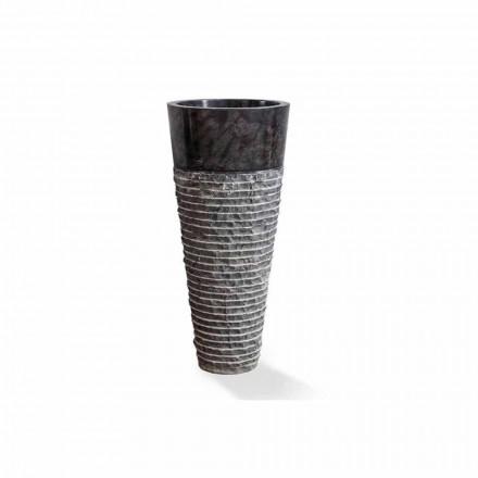 Kolomwastafel met modern design in glanzend zwart marmer - Merlo