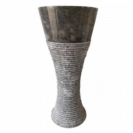 Voetwastafel in donkergrijs natuursteen Fara, uniek stuk