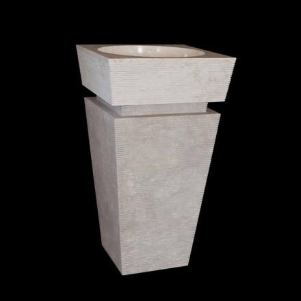 Design zuil op voetstuk in wit Sire-marmer, uniek stuk