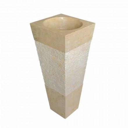 piramide wastafel kolom in natuursteen beige Nias