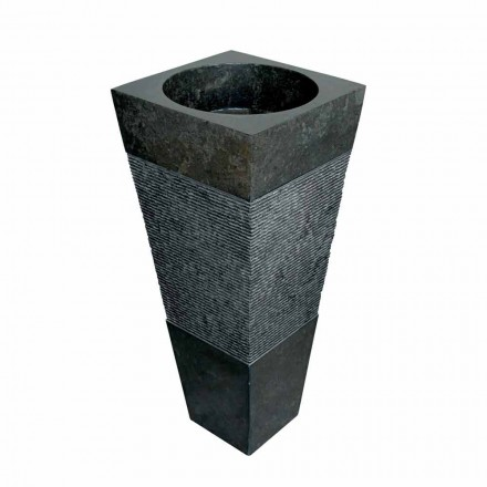 piramide wastafel kolom in zwart natuursteen Nias