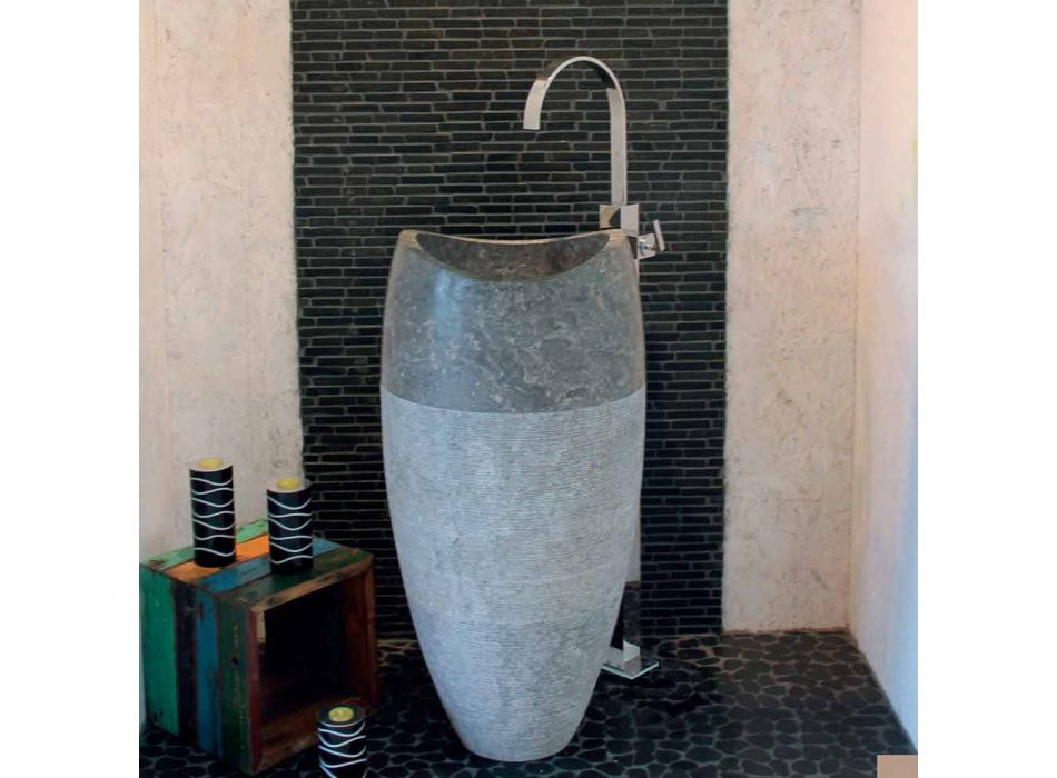 Wastafel Column Sferische Stone Natural Smoke Gili