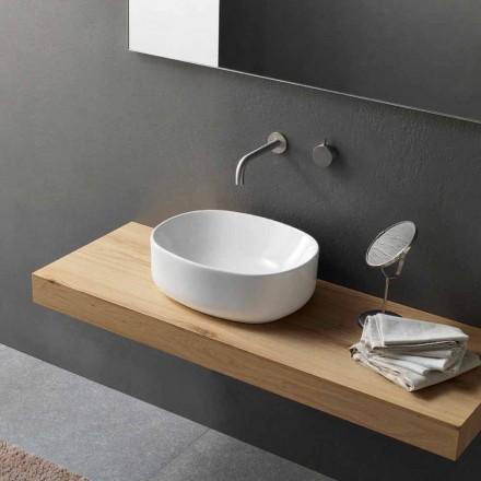 Modern design ovale wastafel in wit keramiek - Ventori2