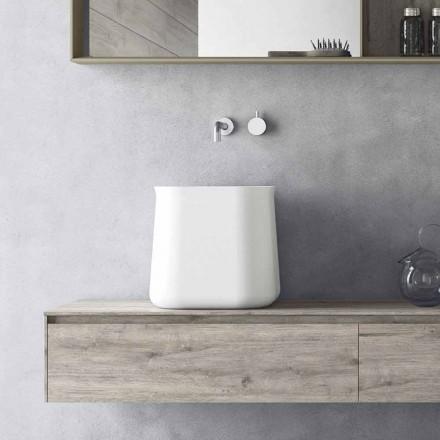 Hoge vierkante moderne design wastafel in witte hars - Tulyp