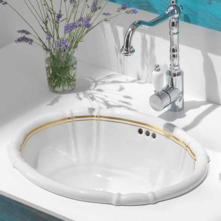 Inbouw badkamergootsteen in porselein en 24-karaats goud, Santiago