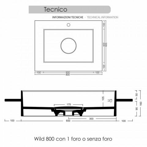 Wastafel rechthoekige keramische badkamer modern design Fred
