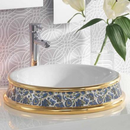 Semi-verzonken badkamer gootsteen in vuur klei / 24 k goud gemaakt in Italië, Manilo