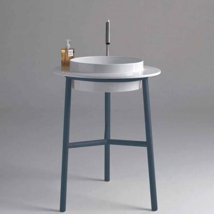 Round wastafel badkamer keramiek met metalen basis Kathy