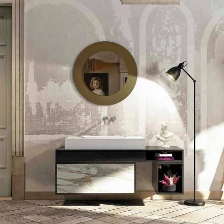 Badkamerblad met centraal geïntegreerde wastafel in Luxolid Voghera