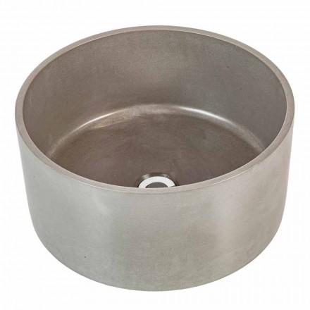 Aanrechtbladvormige ronde wasbak van handgemaakt cement Rivoli