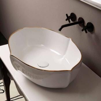 Aanrecht design keramische witgouden wastafel gemaakt in Italië Oscar