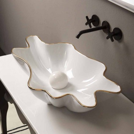 Aanrecht design keramische witgouden wastafel gemaakt in Italië Rayan