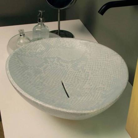 Witte keramische slangenhuid design aanrecht wastafel gemaakt van Italië Animals