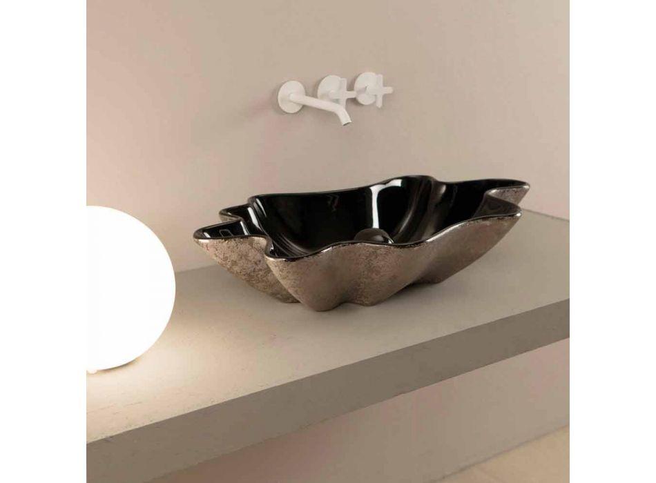 Aanrecht wastafel in zwart en zilver keramiek ontwerp gemaakt in Italië Rayan