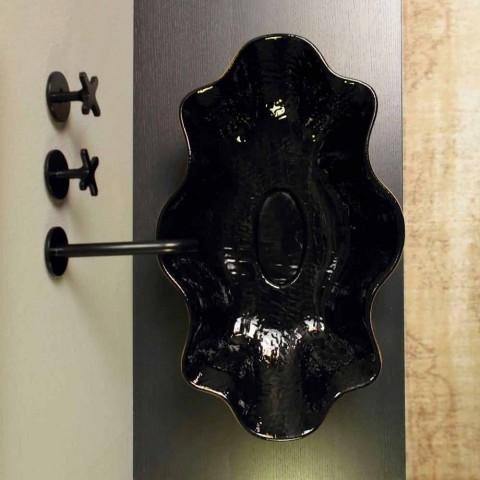 Aanrecht wasbak in zwart en goud keramiek ontwerp gemaakt in Italië Cubo