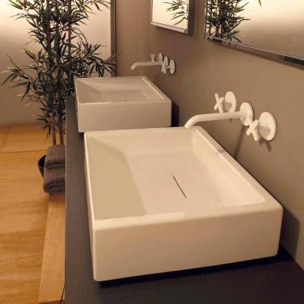 Design rechthoekige keramische wastafel gemaakt in Dalia, Italië