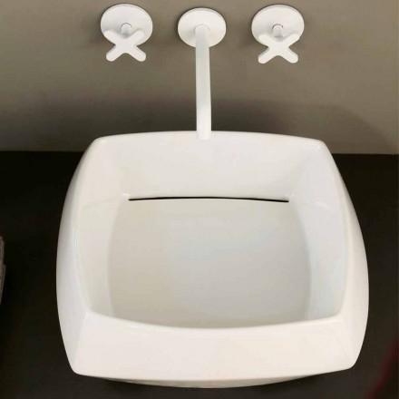 Aanrecht wastafel in wit keramiek uitvoering gemaakt in Italië Simon