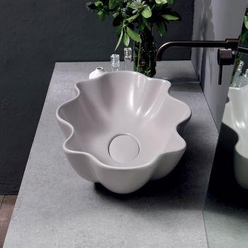 Aanrecht wastafel in mat gekleurd keramiek Made in Italy - Cube