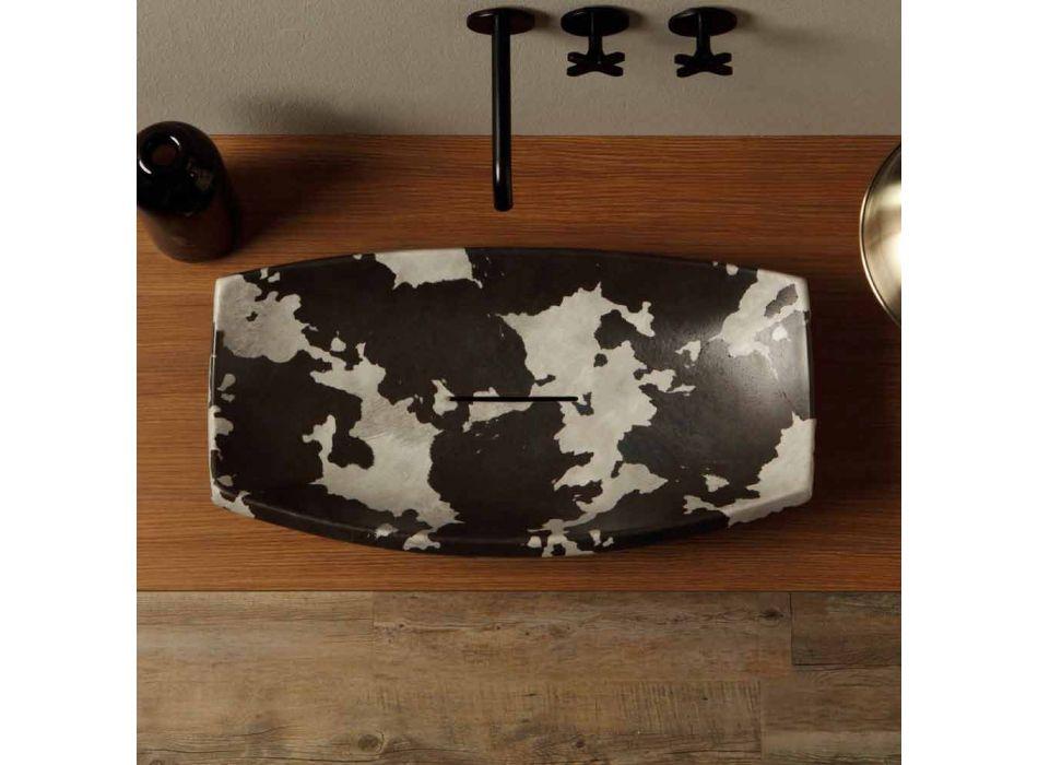 Aanrecht wasbak in gespikkelde keramiek van ontwerp gemaakt in Italië Laura
