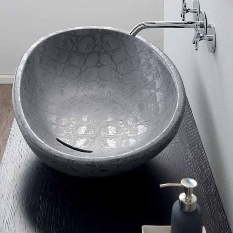 Aanrecht wasbak in grijs kokosnoot bedrukt keramiek gemaakt in Italië glanzend