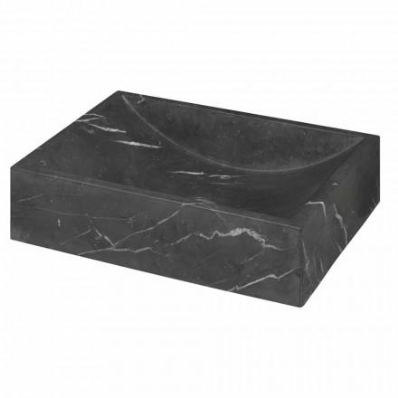 Vierkant Zwart Marquinia Marmeren Aanrecht Wastafel Made in Italy - Bernini