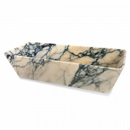 Wastafel op aanrecht in Paonazzo marmer vierkant ontwerp gemaakt in Italië - Karpa