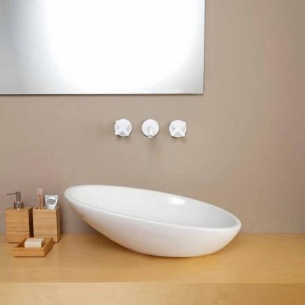 Design schuine keramische wastafel gemaakt in Italië Glossy