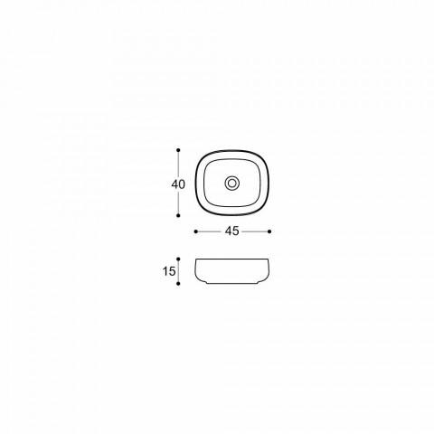 Aanrecht Wastafel in Wit Keramiek Modern Ovaal Design - Tune3