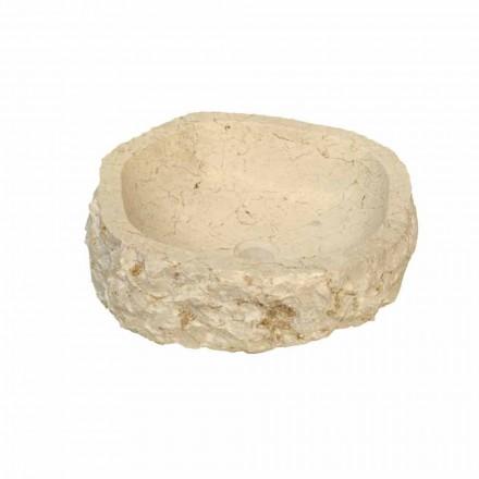 Wastafel in Mumbai beige marmer, uniek stuk