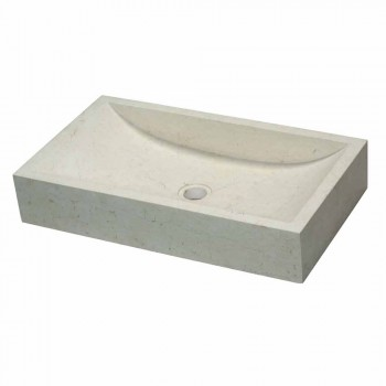 Ondersteunende wastafel Rechthoekige Stone Natural White Satun