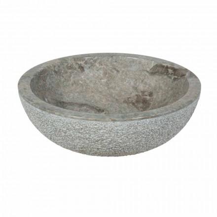 Wastafel round ondersteuning in de externe grijze natuursteen Rough Pai