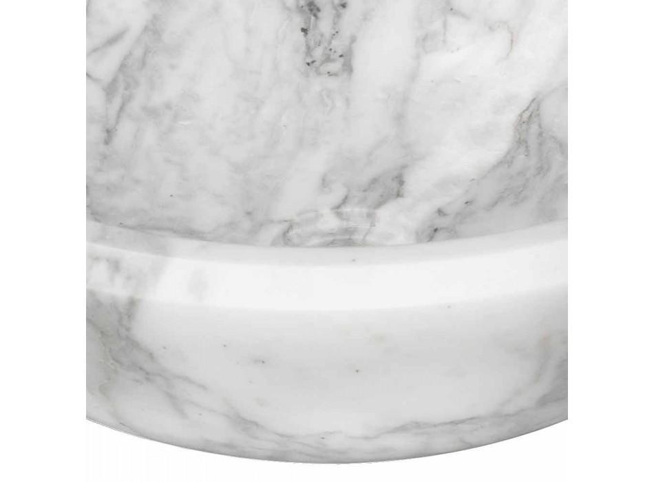 Ronde aanrecht wastafel in wit Carrara-marmer Made in Italy - Canova