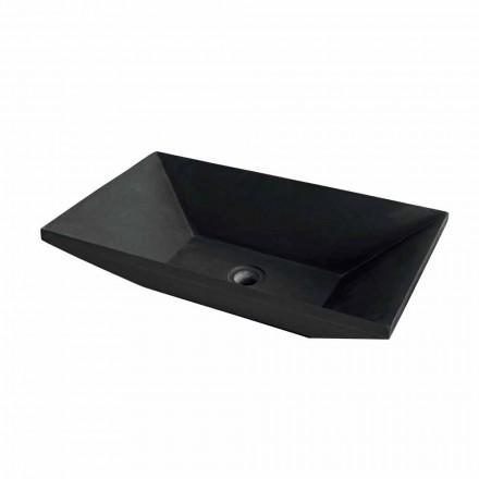 trapeziumvormige wastafel zwarte basalt Wok