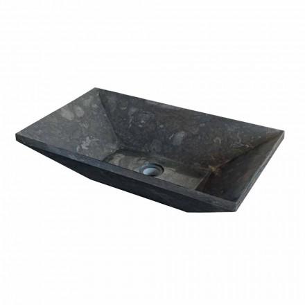 Aanrecht trapeziumvormige steun in zwart natuursteen Wok