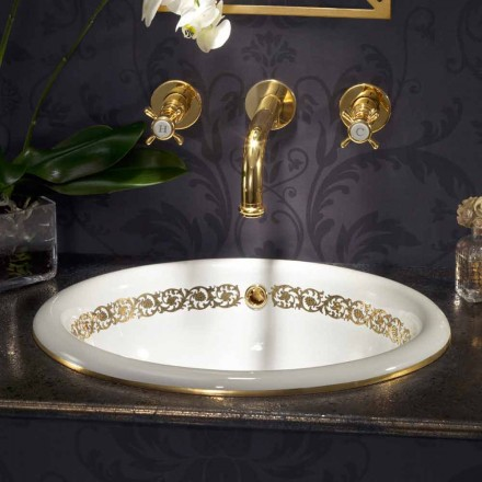Ingebouwde badkamer gootsteen in vuur klei en 24k goud gemaakt in Italië, Otis